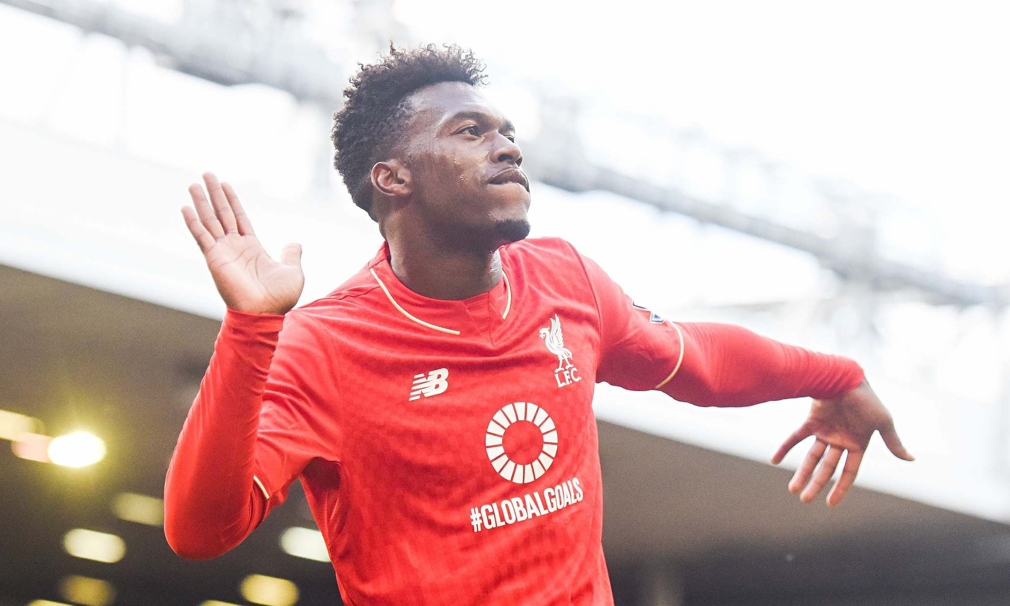 Daniel Sturridge celebrates the first of his two goals for Liverpool against Aston Villa on Saturday